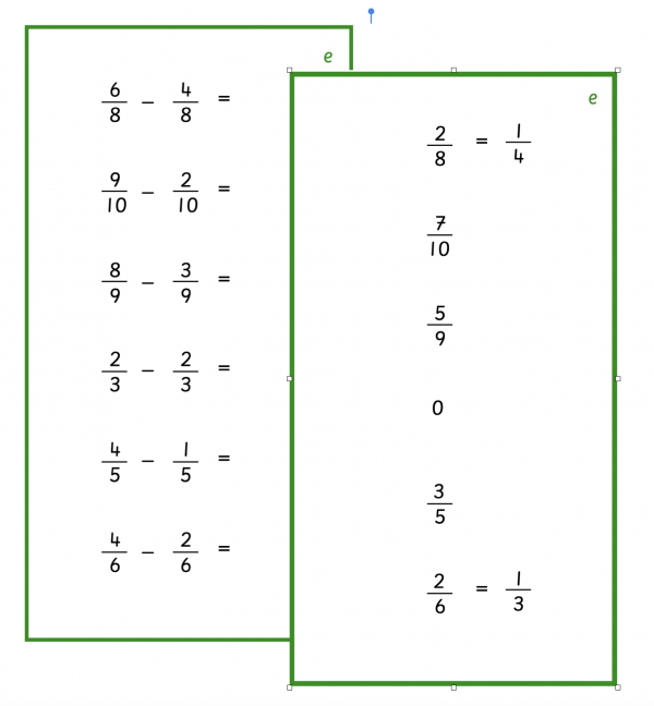 Fractions - Subtraction with Common Denominator