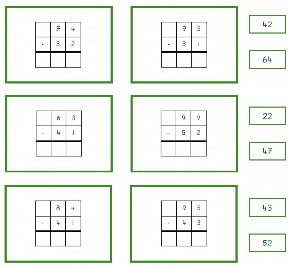 Subtraction without change work cards